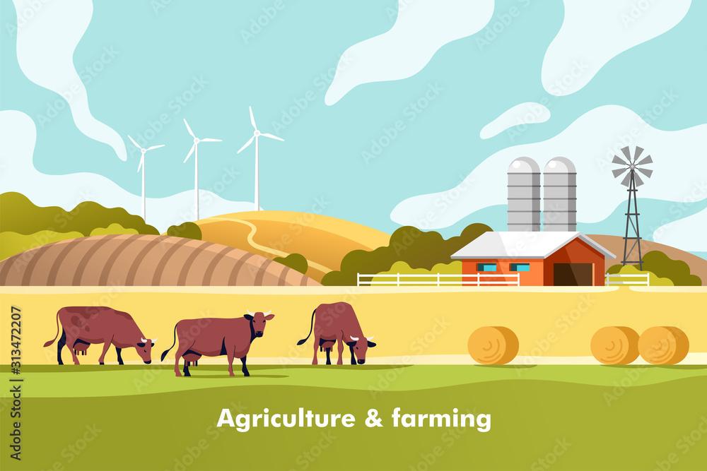 Fototapeta Agriculture and Farming. Agribusiness. Rural landscape. Vector illustration for infographic, websites and print media.