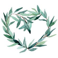Watercolor Wreath Of Eucalyptu...