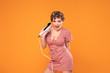 canvas print picture - Pinup girl posing with retro dryer.