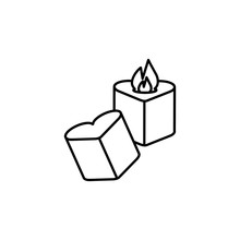 Candles, Heart Candles Line Icon. Elements Of Valentines Day Illustration Icons. Signs, Symbols Can Be Used For Web, Logo, Mobile App, UI, UX