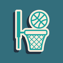 Green Basketball Ball And Basket Icon Isolated On Blue Background. Ball In Basketball Hoop. Long Shadow Style. Vector Illustration