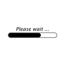 Please Wait Bar Process Icon. Vector Element Isolated  On White Background. Download Sign.