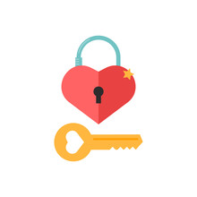 Love Icons With Heart Lock And Key. Romantic Elements Of Love Lock. Valentines Day Stickers With Symbols Of Romantic Message And Virginity. Vector Illsutration In Flat Design