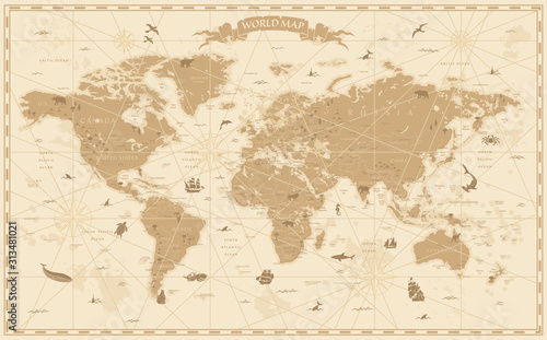 Fotomural  World Map Vintage Cartoon Detailed - vector