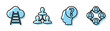 Set line Human head with question mark, Ladder leading to cloud, Project team base and Project team base icon. Vector