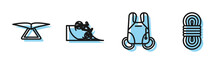 Set Line Parachute, Hang Glider, Bicycle On Street Ramp And Climber Rope Icon. Vector
