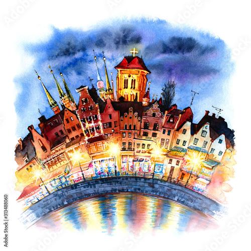 akwarelowy-szkic-starego-miasta-w-gdansku