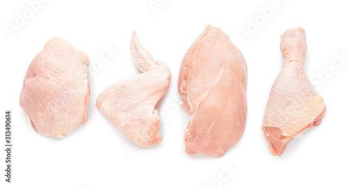 Cuadros en Lienzo Raw chicken meat on white background