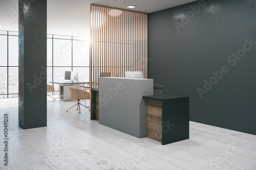 Fototapeta Office lobby interior with reception desk,