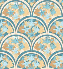 Aquilegia In Art Nouveau Style, Seamless