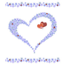 Forget-me-not Flowers And Ladybugs In Heart Shape On White Background, Vector Illustration