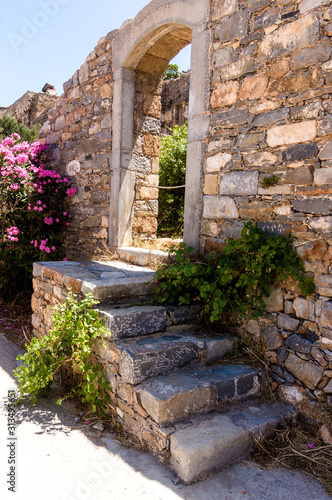 Former leprosy Spinalonga fortress, Crete, Greece Canvas Print