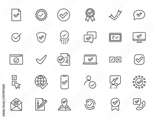 Fototapeta Set of linear approve icons. Check icons in simple design. Vector illustration obraz