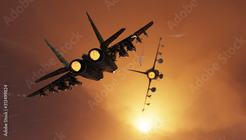 Photo Russian fighter jet aircraft chasing american jet locking and firing a missile 3