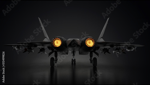 Photo Su-57 Sukhoi fighter stealth jet engine running view from back 3d render