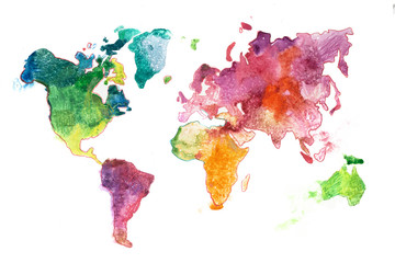 Watercolor world map hand drawn. Aquarelle illustration