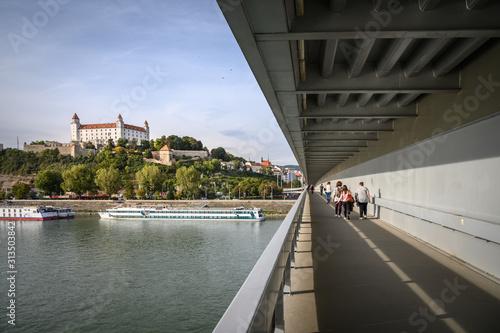 View of castle from  the Lafranconi bridge in Bratislava, Slovakia Wallpaper Mural
