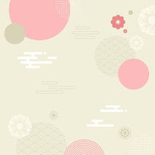 Korean Traditional Vector Illustration. Pink Circles, Clouds, Flowers Background.