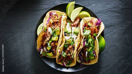 mexican street tacos flat lay composition with pork carnitas, avocado, onion, cilantro, and red cabbage - 313507099