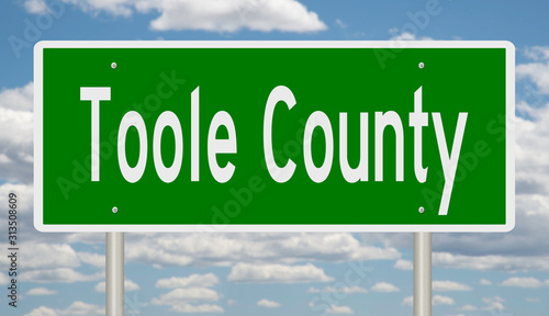 Photo  Rendering of a green 3d highway sign for Toole County