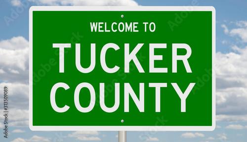 Rendering of a green 3d highway sign for Tucker County Tapéta, Fotótapéta