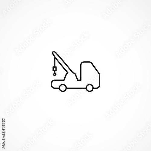 Photo  car tow service, 24 hours, truck , auto service, car repair icon on white backgr
