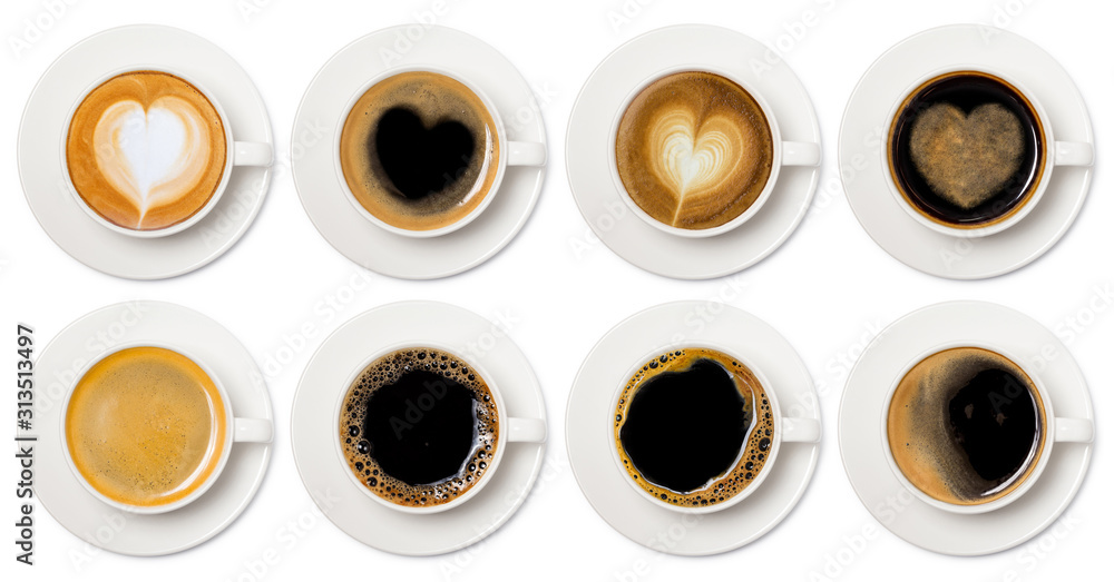 Fototapeta coffee cup assortment top view collection, coffee cup assortment with heart sign top view collection isolated on white background.