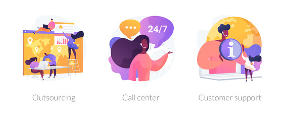 Company services and organizational management. Corporate helpline, client assistance. Outsourcing, call center, customer support metaphors. Vector isolated concept metaphor illustrations.