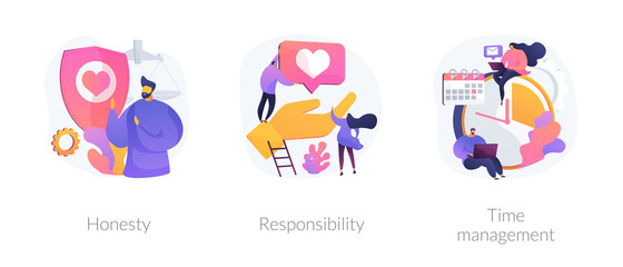 FototapetaPersonal and professional skills icons set. Honesty, responsibility, time management metaphors. Personnel training, employee coaching. Vector isolated concept metaphor illustrations.