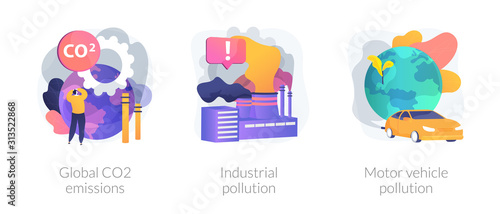 Fototapeta Plant and factory harm. Toxic chemical industry. Car smoke. Global CO2 emissions, industrial pollution, motor vehicle pollution metaphors. Vector isolated concept metaphor illustrations obraz
