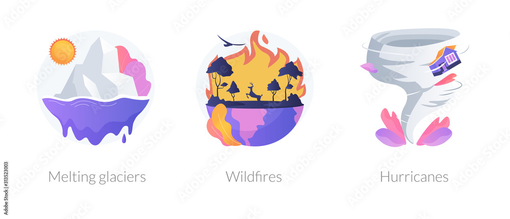 Fototapeta Global warming disasters, cataclysms, climate change consequences. Nature damage, destructions. Glaciers, wildfires, hurricanes metaphors. Vector isolated concept metaphor illustrations.