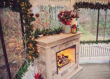 Christmas Gazebo Fireplace