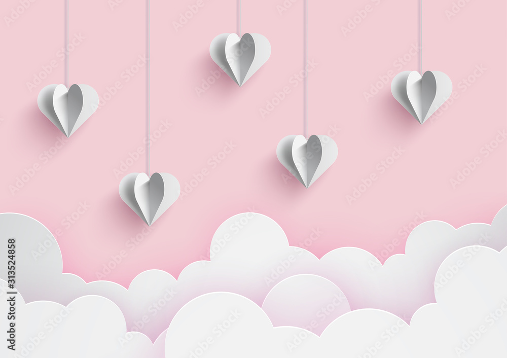 Fototapeta Happy valentine's day and love vector card and poster design with origami heart and confetti.Illustration eps10.