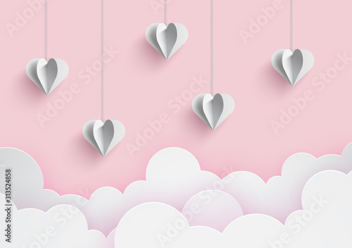 Happy valentine's day and love vector card and poster design with origami heart and confetti Wallpaper Mural