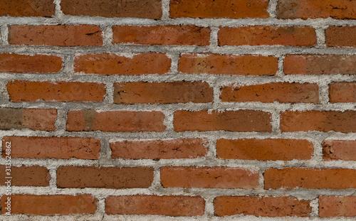 Pared de ladrillos rojos reales desgastados en exterior Wallpaper Mural