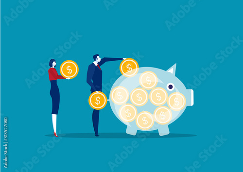 Cuadros en Lienzo  business people saving and accumulating money.vector illustrator.