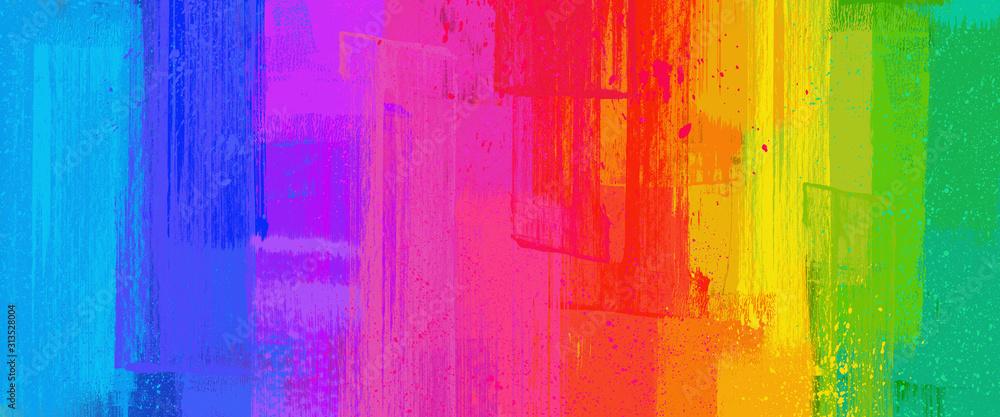 Fototapeta brush stroke texture, Rainbow color