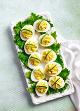 Deviled Eggs With Cucumber As An Appetizer, Top View.