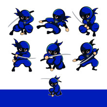 Blue Cartoon Ninja Action Set With Six Different