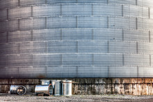Grungy Textured Old Grain Elevator Silo Close Up