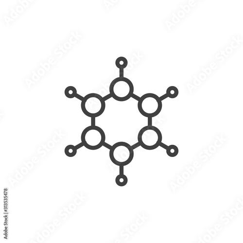 Benzene molecular geometry line icon Wallpaper Mural