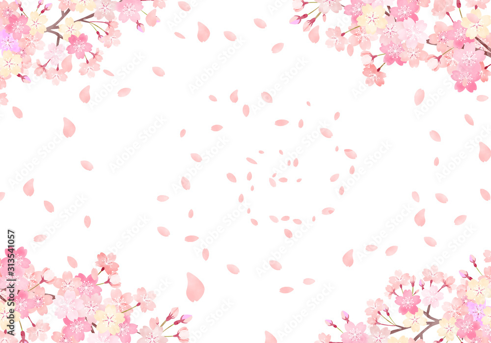 Fototapeta 水彩 手描き風 桜 背景イラスト 02