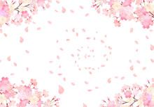 水彩 手描き風 桜 ...