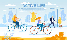 Happy Business People Riding Bikes Active Life Poster. Cycle To Work Day. Office Workers Cycling Outdoor Public Urban Park. Eco Transpiration To Job. World Environment Safety. Healthy Lifestyle