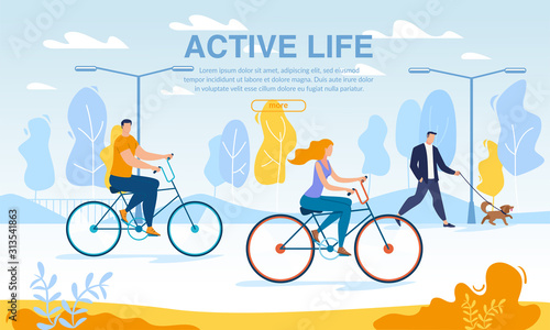 Happy Business People Riding Bikes Active Life Poster Fotobehang
