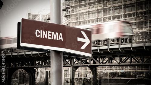 Street Sign to Cinema Canvas Print