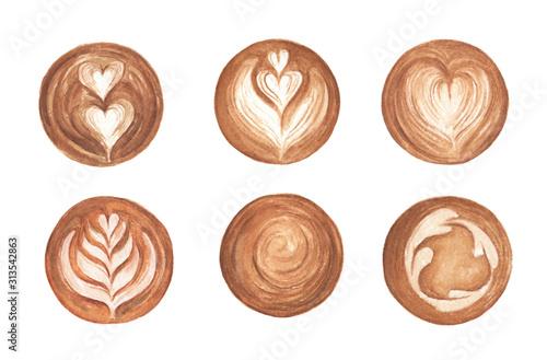 Zestaw Latte Art, kształt serca, kawa latte art na białym tle. Widok z góry gorącej kawy pianki cappuccino latte art. Akwarela ilustracja
