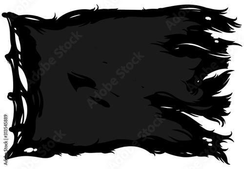 Fotomural  Black ragged pirate flag.