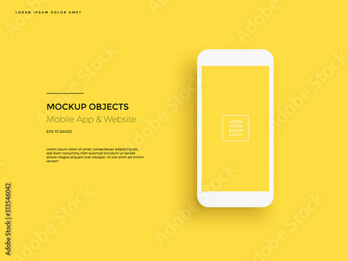 Obraz Realistic smartphone mockup. Cellphone frame with blank display. Vector mobile device concept - fototapety do salonu