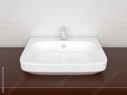 Bathroom basin with faucet. Interior design
